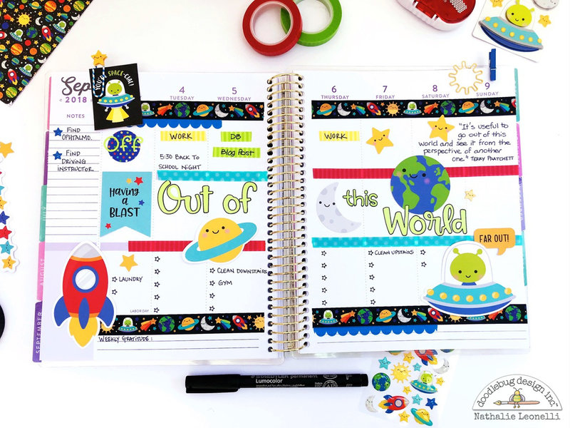 Out of this World Planner Spread with Doodlebug Design