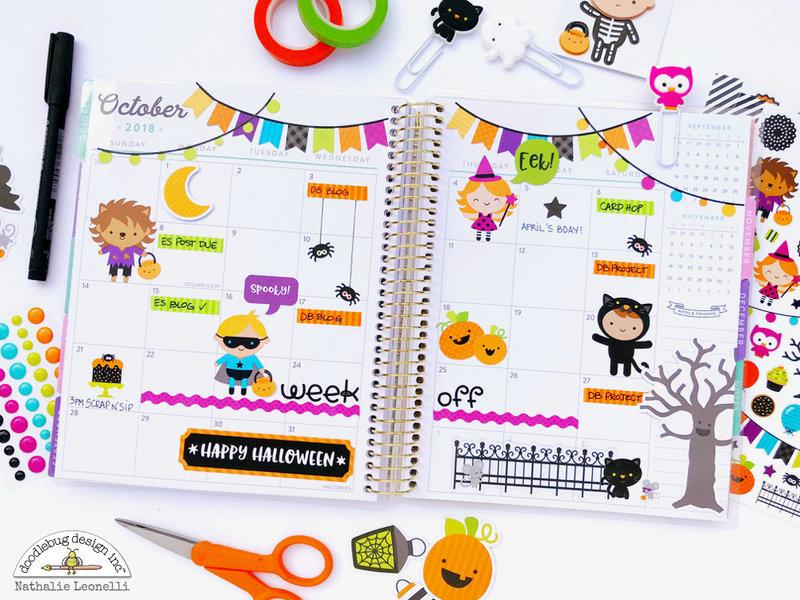 Halloween Planner Spread with Doodlebug Design