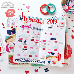 February Monthly Planner Spread with Doodlebug Design French Kiss