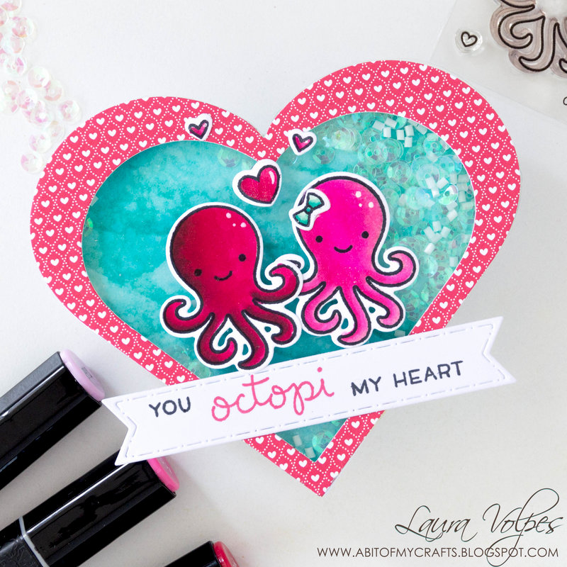 Heart Shaped Valentine Shaker Card feat Lawn Fawn Octopi my Heart