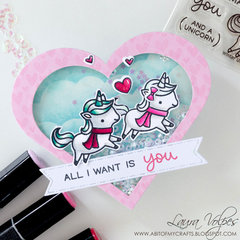 Heart Shaped Valentine Shaker Card feat Lawn Fawn Winter Unicorn