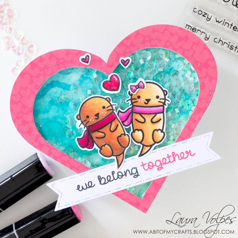 Heart Shaped Valentine Shaker Card feat Lawn Fawn Winter Otter