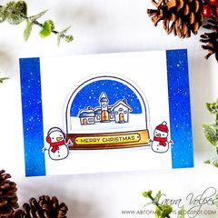 Snow Globe Christmas Card feat Lawn Fawn