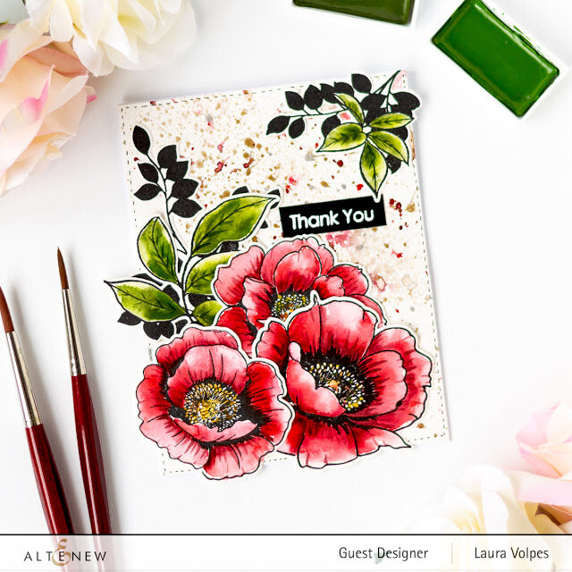 Watercolor Floral Card with Altenew Wallpaper Art