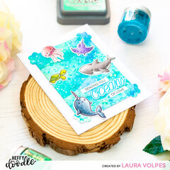 Ocean Background with Distress Embossing Glaze