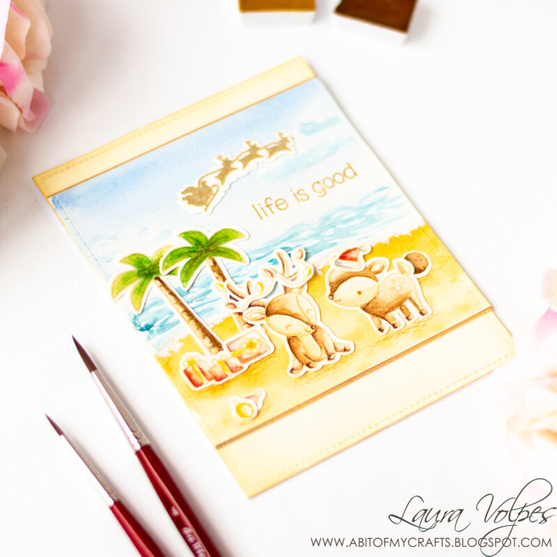 Watercolor Christmas at the Beach Scene feat Lawn Fawn