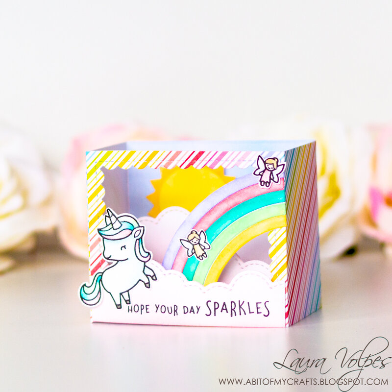 Rainbow Shadow Box Card with Lawn Fawn