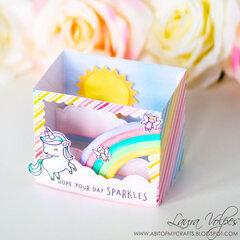 Rainbow Shadow Box Card with Lawn Fawn