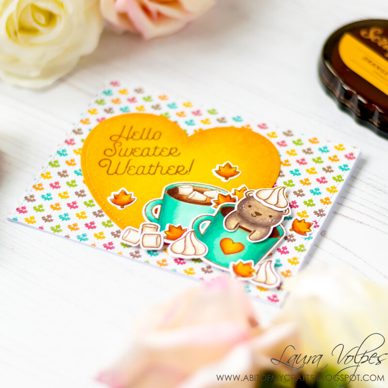 Scrapbook com Domed Ink Blending Tools    Fall Card feat Lawn Fawn Thanks a Latte