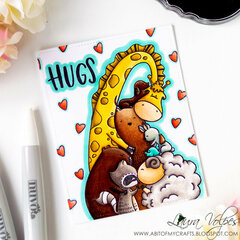 One Layer Card feat Waffle Flower Hugs and Nuvo Markers