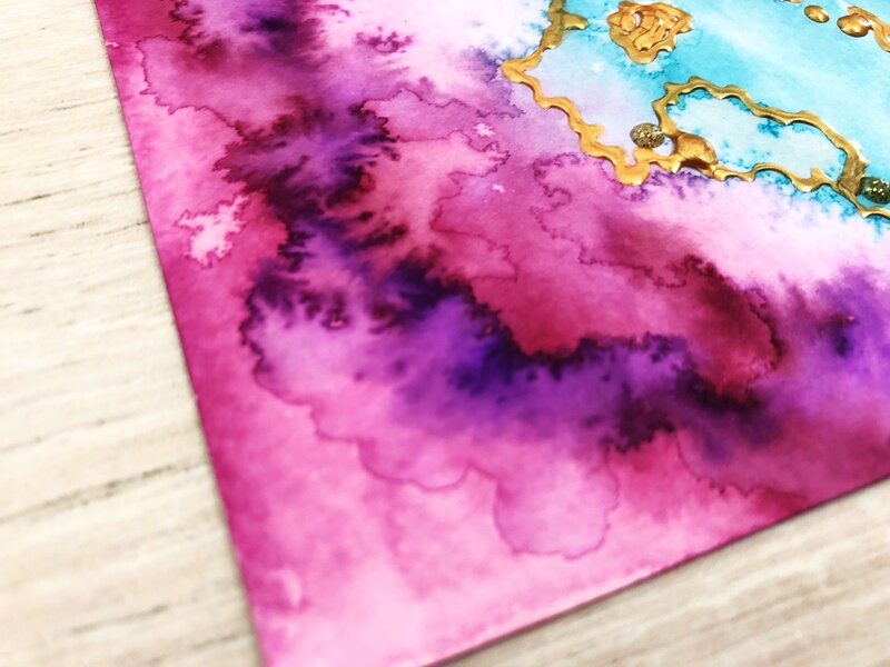 Easy Art journal page with Nuvo Aqua Flow & Drops