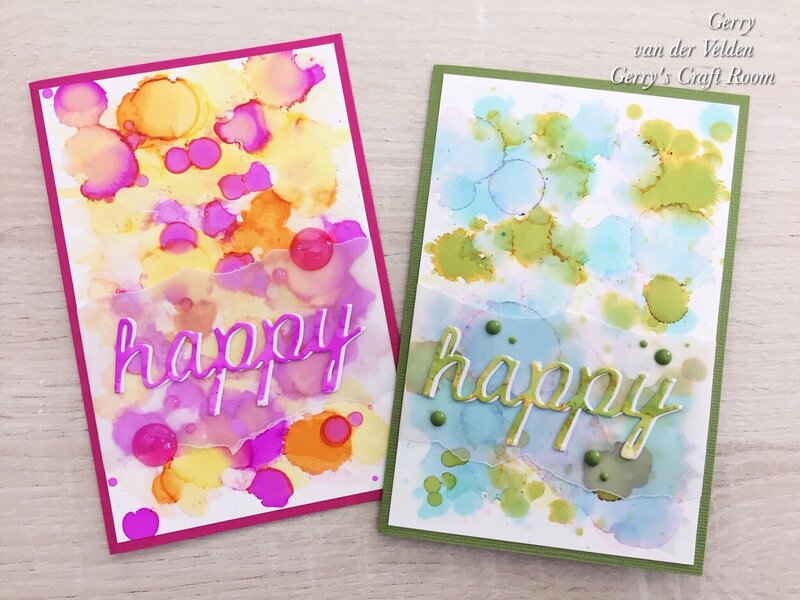 """""""Happy"""" Easy alcohol ink backgrounds"""