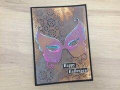 Halloween card with Tim holtz masquerade die 4