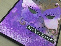Halloween card with Tim Holtz masquerade die 3