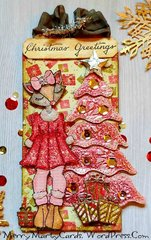 Foxy Christmas Tag with Pink Metallic Tree
