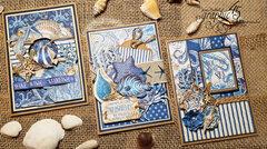 Graphic 45 Ocean Blue Card trio