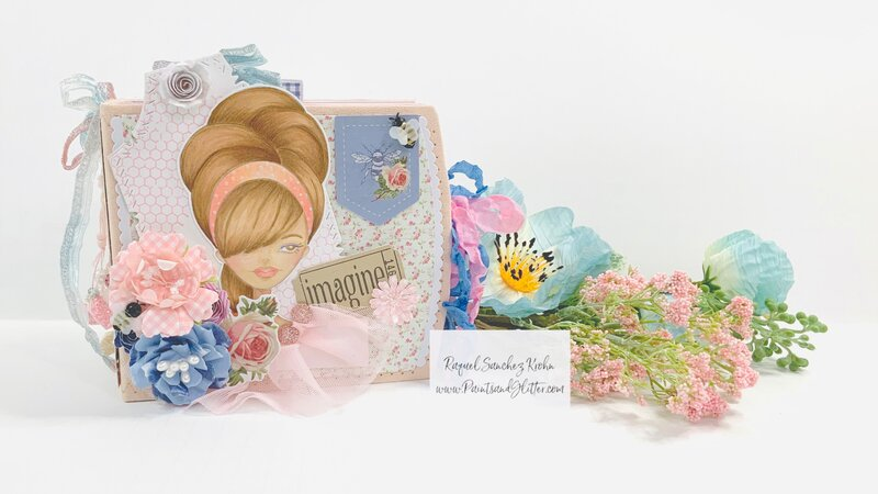 Miss Bea Mini Album using Julie Nutting Stamps & Frayed Denim Collection