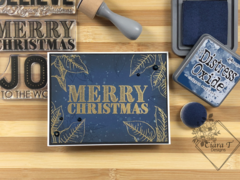 Navy & Gold Embossed Christmas card