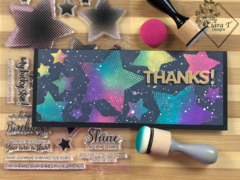 Distress Oxide Blended Star Slimline Card