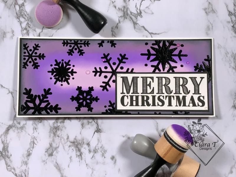 Purple and Black Snowflake Christmas Slimline Card