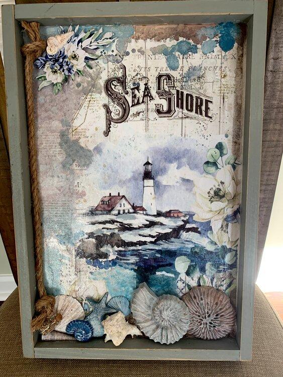 Sea shore, wooden tray