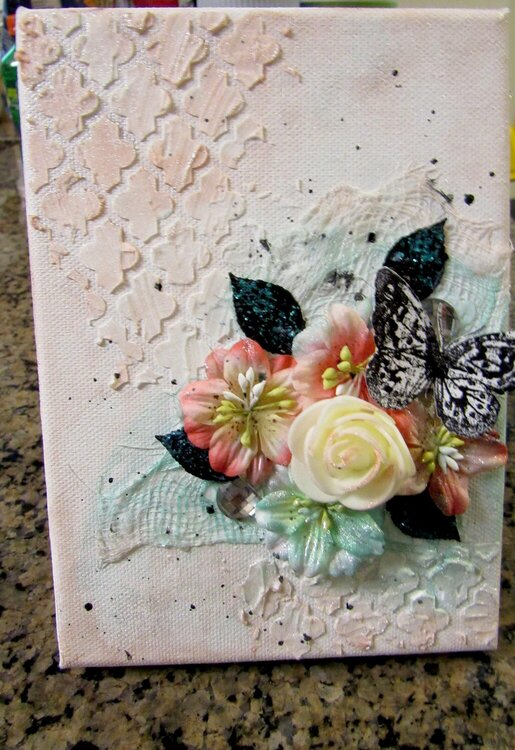 small canvas with flowers