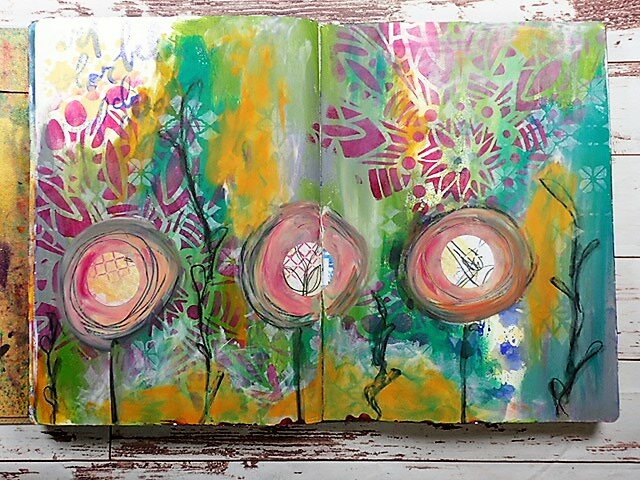 Stencil Layers | Art Journal page