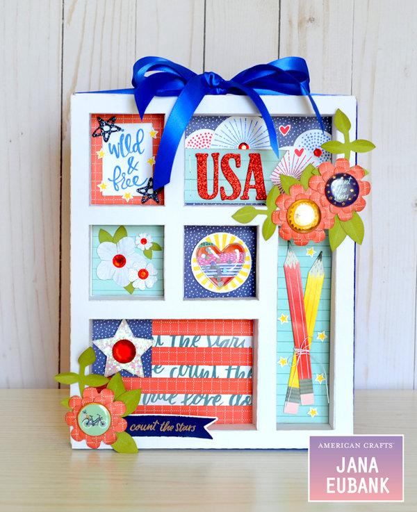 4th of July USA Home Decor Shadow Box