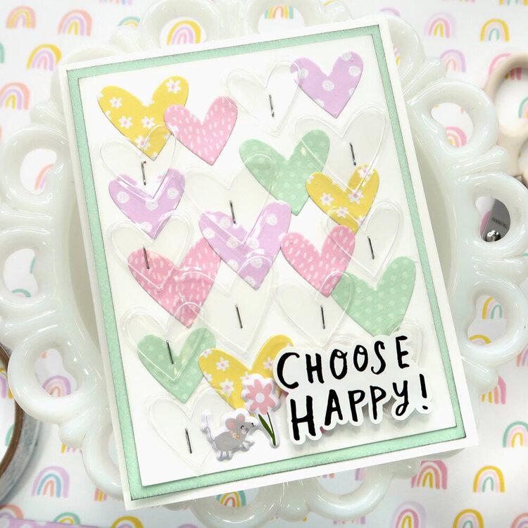 'Choose Happy' Die Cut Hearts Card