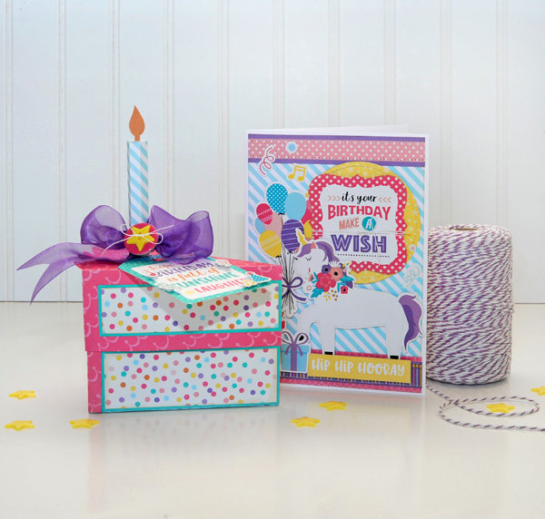 Happy Birthday Girl 3D Cake Box and Coordinating Card