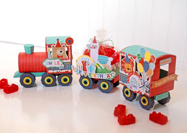 Happy Birthday Boy 3D Paper Train Set