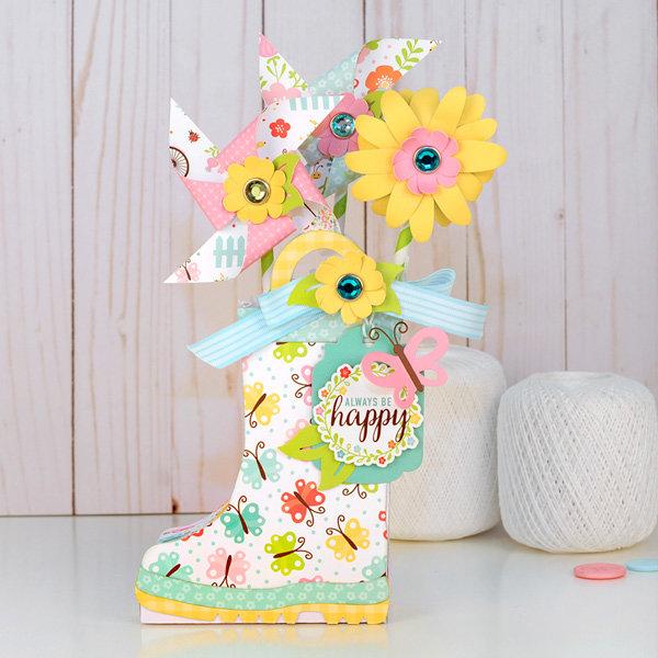 Hello Spring Rainboot with Pinwheels