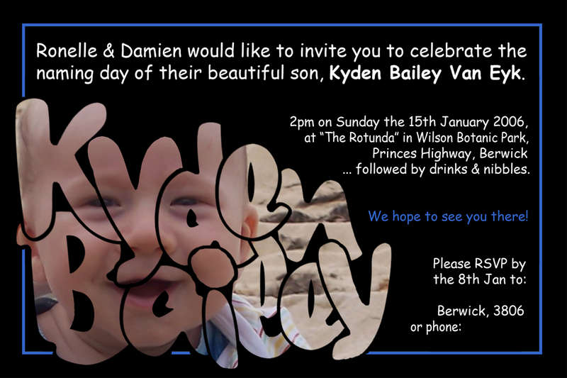 Kydens Naming Day Invitation