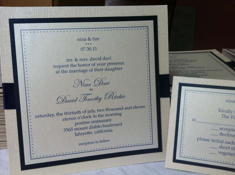 Navy and Cream Wedding Invitations
