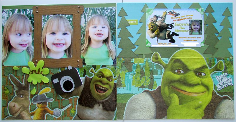 Smile, Swing on over to Celebrate Jaidyn's 3rd Birthday Shrek 2 Party 2 page layout