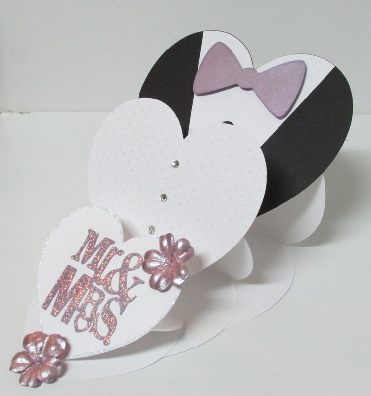 Mr. & Mrs. Triple Heart Shape Easel card (open)