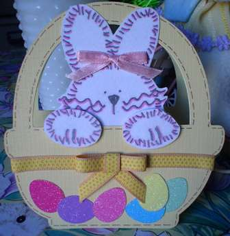 Easter Bunny in a Basket shape card