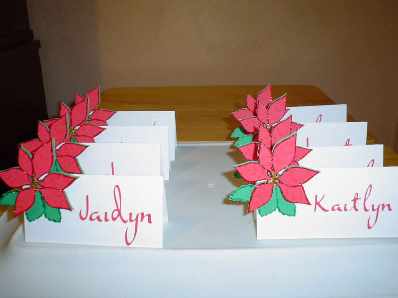 Poinsetta place cards