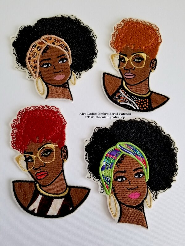 Afro American Embroidered Patches