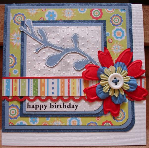 Red and Blue Flower B-day