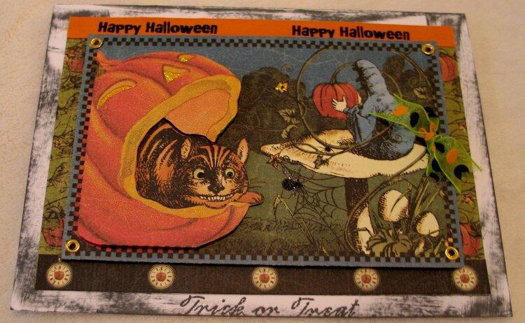 Halloween Cheshire Cat card