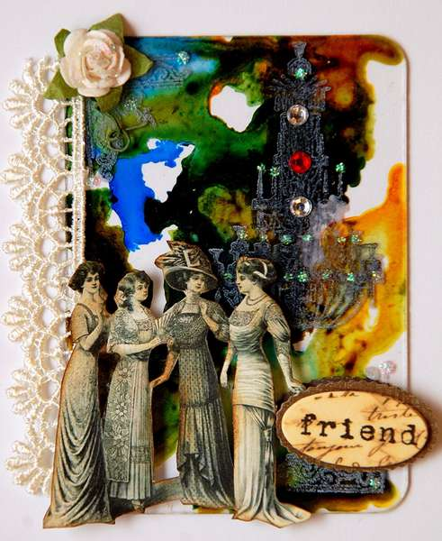 """Friend ATC """"Artsy Background with Alcohol Ink"""""""