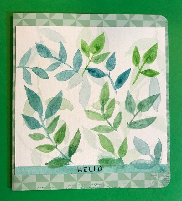 "Day 5 Online card class ""simply Watercolor"" Leaves"