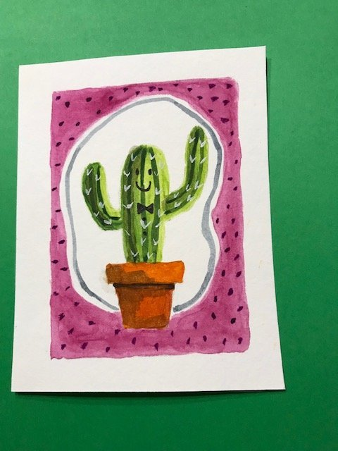 day 4 online card class - cactus