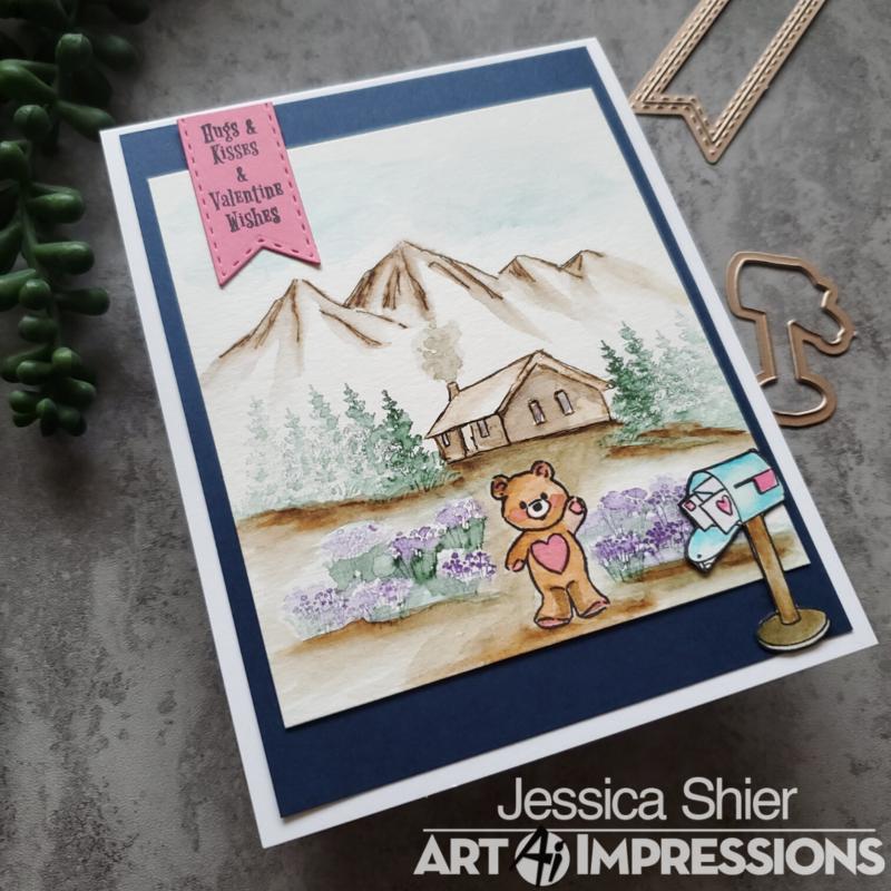Little Bear Mountain watercolor scene