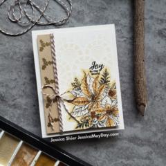 Gold Watercolor Poinsettia