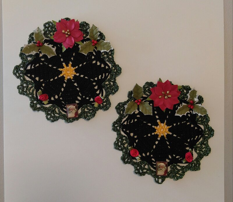 Hand Crochet Xmas Doilies with Embellishments