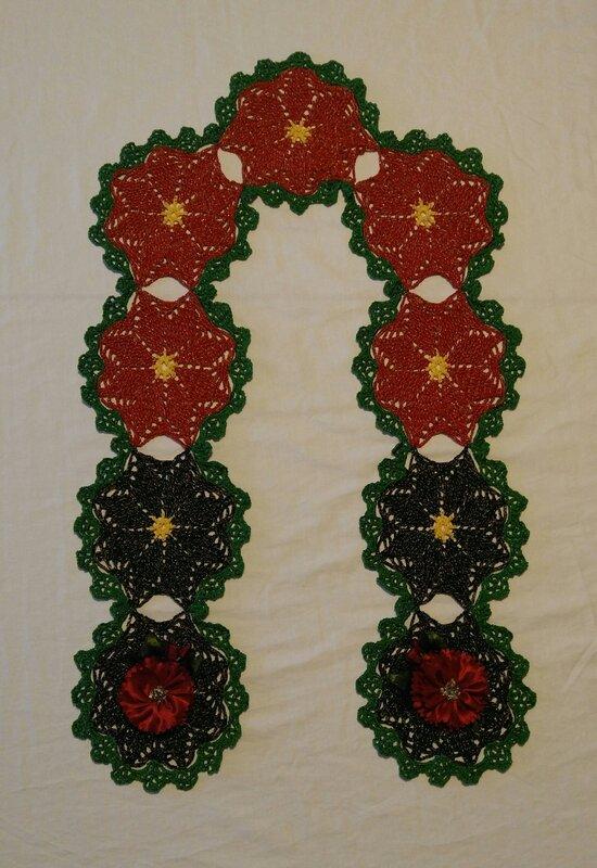 Crochet Scarf with Prima Midnight Garden Satin Flowers