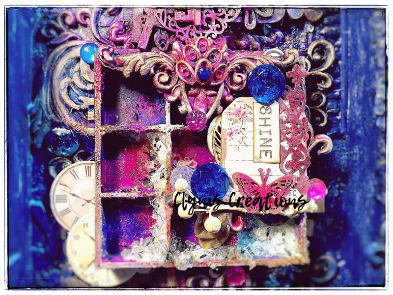 Shine - Shadow box mixed media project by Clynis Creations