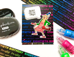 Neon 80th Birthday Card